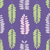 Tree leaf silhouettes seamless pattern. Vector illustration