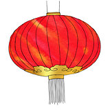 Hand drawn watercolor Chinese Lantern. Chinese New Year. Vector illustration