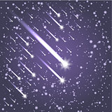 Flying meteors. Ultra violet. Vector illustration.