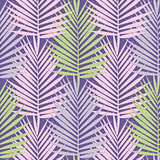 Ultra violet tropical palm leaves seamless pattern. Vector illustration.