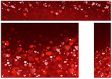Bright Red Hearts Abstract Banners