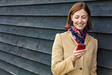 Middle Aged Woman Using Mobile Cell Phone