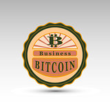 the vector badge with bit coin symbol