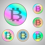 Colorful circles with bitcoin signs