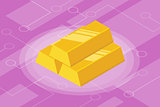 isometric gold bar isolated investment finance