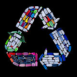 Recycling symbol made from plastic bottles trash - ecology conce