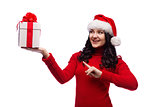 Christmas Santa hat isolated woman hold christmas gift.