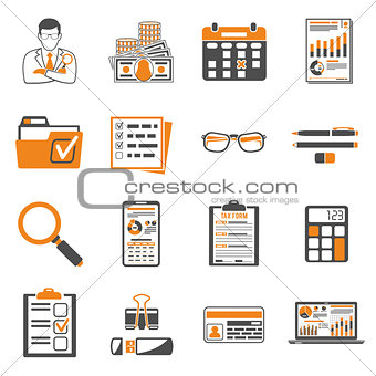 Auditing, Tax, Accounting two color icons set