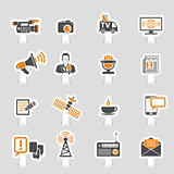 Media and News Icons Sticker Set