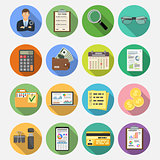 Auditing, Tax, Accounting Flat Icons Set