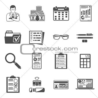 Auditing, Tax, Accounting icons set