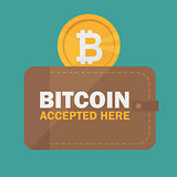 Bitcoin accepted sticker icon banner with text bitcoind accepted here