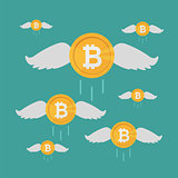 Bitcoin Coin Flies with Wings, Crypto Currency Growing concept. Business concept