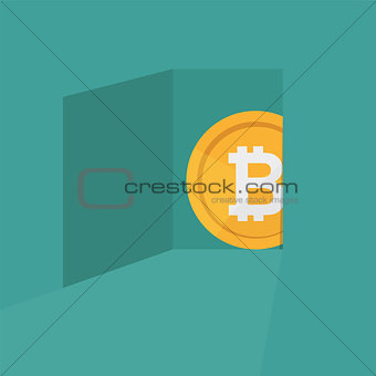 A bitcoin symbol coming out of door crypto currency concept