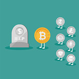 Dollar Coin Icon Tombstone Flat. Real money vs Bitcoin virtual money - Crypto