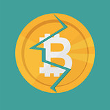 Crypto currency Bitcoin internet virtual money. Vector icon of the bitcoin