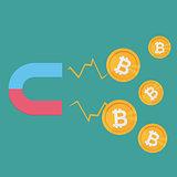 Business concept. A magnet attracting bitcoins. editable flat vector clip art