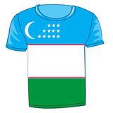 T-shirt flag Uzbekistan