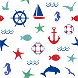 Cute marine life seamless pattern