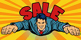Joyful businessman flies, sale