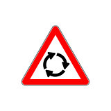 Roundabout crossroad ahead, red triangle warning sign vector.