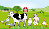 Farm animals illustration. Funny cartoon