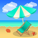 Rest on the beach, beach umbrella, sun lounger, sand and sea for
