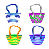 Summer beach bags isolated for the decoration of the tourist boo