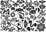 Set of Damask Floral Reliefs