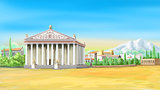 Temple of Artemis in a Sunny Day Illustration