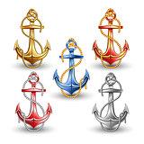 Nautical anchors isolated on white background.