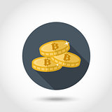 Bitcoin icon in flat style.