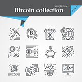 Bitcoin outline icon set
