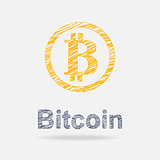 Bitcoin icon in doddle style