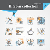 Bitcoin outline and flat trendy icon set