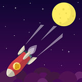 Bitcoin icon rocket ship in flat style