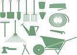 monochrome garden tools