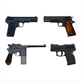 realistic guns setSet of realistic pistols isolated on white background. Vector illustration