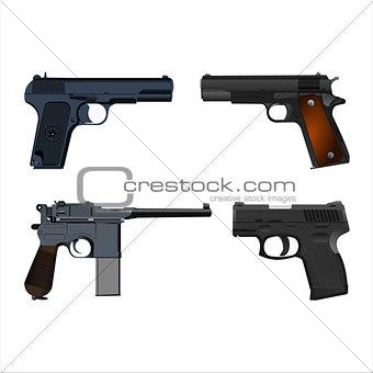 realistic guns setSet of realistic pistols isolated on white background. Vector illustration