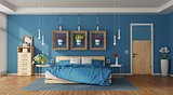Modern blue master bedroom