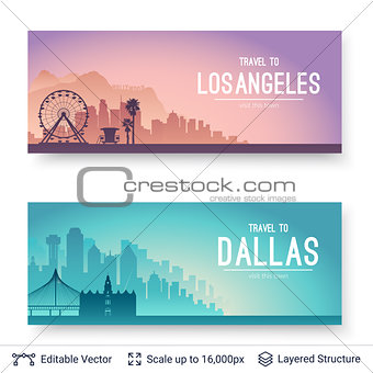 Los Angeles and Dallas famous city scapes.