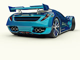 Blue racing concept car. Image of a car on a white background. 3d rendering.