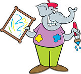 Cartoon Artist Elephant Holding a Painting.