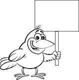 Cartoon Bird Holding a Sign.