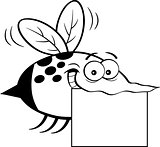 Cartoon Flying Insect Holding a Sign.