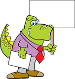 Cartoon Dinosaur Wearing a Tie and Holding a Sign.