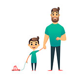 Cartoon vector father and son. Man and boy. Happy family. Happy Father s Day greeting card