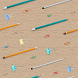 Flat lay with bright stationery supplies on cardboard background. Seamless pattern.