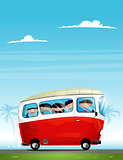 Cute cartoon children in bus.