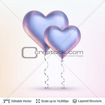 Pair of 3D Heart shaped air balloons.